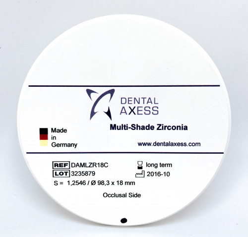 Dental Axess  Multi-Layer Zirconia 98mmD 18mmH Shade C